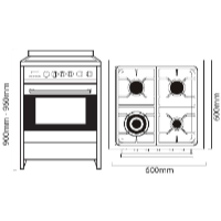 PARMCO 60CM WHITE GAS-ELECTRIC STOVE *NEW*